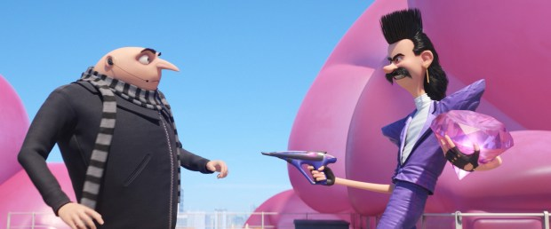 """This image released by Illumination and Universal Pictures shows characters Gru, voiced by Steve Carell, left, and Balthazar Bratt, voiced by Trey Parker, in a scene from """"Despicable Me 3."""" (Illumination and Universal Pictures via AP)"""