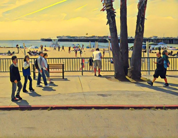People walk on the streets near the Santa Cruz Beach Boardwalk. Photo created with the app Prism. (Queenie Wong/Bay Area News Group)