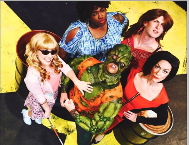 "The ""Toxic Avenger"" cast features, clockwise from left, Courtney Hatcher,Brandon Noel Thomas, Joshua Marx, Allison F. Rich, and Will Springhorn Jr. (Dave Lepori/San Jose Stage)"