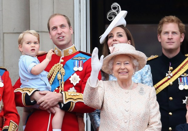 LONDON, ENGLAND - JUNE 13: (L-R) Prince George of Cambridge,Prince William, Duke of Cambridge, Catherine, Duchess of Cambridge, Queen Elizabeth II, Prince Harry look out on the balcony of Buckingham Palace during the Trooping The Colour ceremony on June 13, 2015 in London, England. The ceremony is Queen Elizabeth II's annual birthday parade and dates back to the time of Charles II in the 17th Century, when the Colours of a regiment were used as a rallying point in battle. (Photo by Chris Jackson/Getty Images)