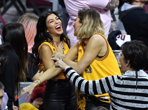 CLEVELAND, OH - JUNE 09: TV personalities Kourtney Kardashian, Khloe Kardashian and Kris Jenner react in Game 4 of the 2017 NBA Finals between the Golden State Warriors and the Cleveland Cavaliers at Quicken Loans Arena on June 9, 2017 in Cleveland, Ohio. NOTE TO USER: User expressly acknowledges and agrees that, by downloading and or using this photograph, User is consenting to the terms and conditions of the Getty Images License Agreement. (Photo by Jason Miller/Getty Images)