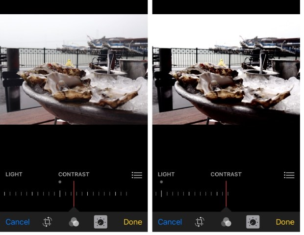 Adjusting the contrast in a photo makes the blacks appear darker and whites lighter. In the image on the right, too much contrast was added. (Queenie Wong/Bay Area News Group)
