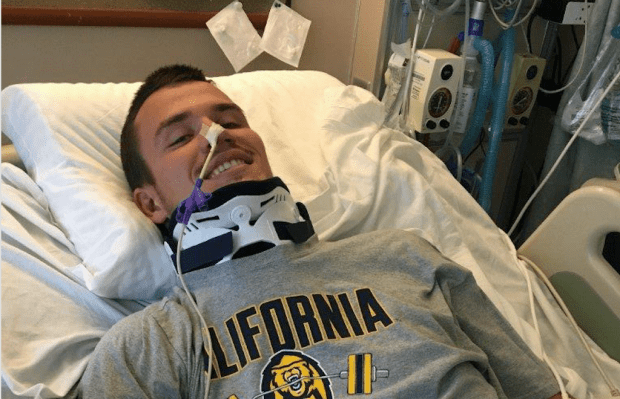 Robert Paylor is seen in his hospital bed at Valley Medical Center in San Jose, Calif., where he continues to be treated following the incident that left him paralyzed from the chest down. Paylor, 20, of Eldorado Hills, was playing rugby with the Cal rugby team in the national championship match on Saturday, May 20, 2017 when he was injured. (Courtesy Valley Medical Center)