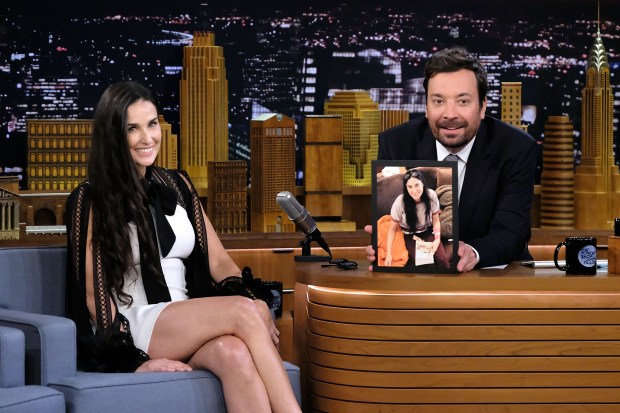 """NEW YORK, NY - JUNE 12: Actress Demi Moore (L) is interviewed by Host/Comedian Jimmy Fallon during her visit to the """"The Tonight Show Starring Jimmy Fallon"""" at Rockefeller Center on June 12, 2017 in New York City. (Photo by Mike Coppola/Getty Images for NBC)"""