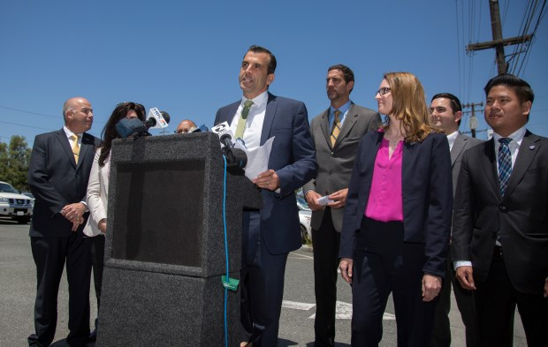 San Jose Mayor Sam Liccardo speaks to the media in the Stephen's Meat Products parking lot in downtown San Jose, California, Tuesday, June 6, 2017. The mayor announced that the City of San Jose has commenced discussions with Google on the potential development of a mixed-use, transit-oriented office space that would transform the Diridon Station area and downtown San Jose. (Patrick Tehan/Bay Area News Group)