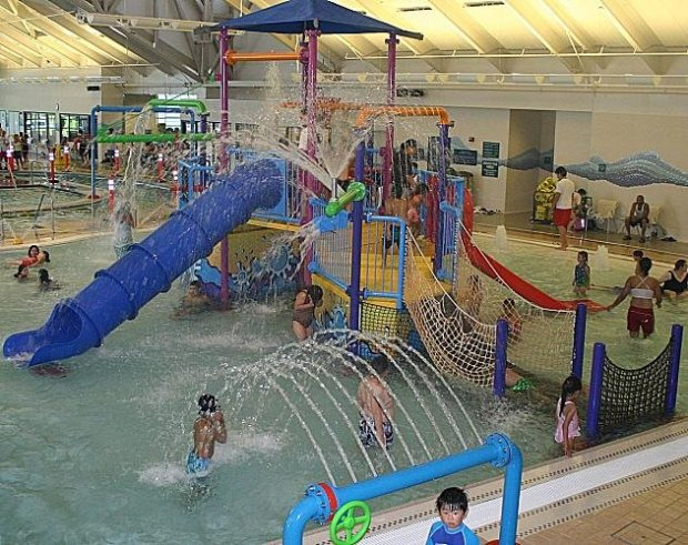 Newark's Silliman Aquatic Center features a 25-yard lap/activity pool, a 245-foot lazy river, a large activity pool with a six-platform play structure and more than 30 devices to spray, bomb and dump water overunsuspecting friends and strangers. (Silliman Aquatic Center)
