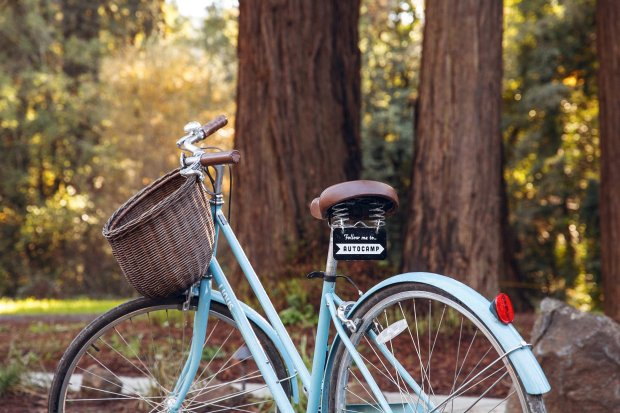 Linus bicycle rentals are free for adult guests of AutoCamp Russian Riverin Guerneville. Most guests use them for quick access to downtown and the beach (Photo: Aubrie Pick).