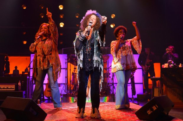 Kacee Clanton (center) as the iconic Janis Joplin accompanied by SylviaMacCalla and Ashley Ta mar Davis as Joplinaires in Broadway's critically acclaimed musical A Night with Janis Joplin performing at A.C.T.'s Geary Theater now through Sunday, July 9.