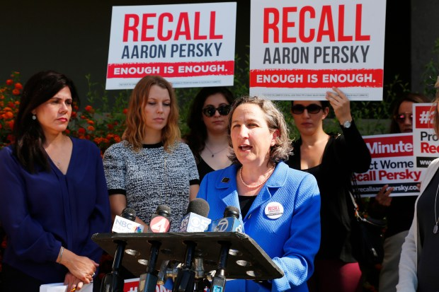 Stanford law school professor Michele Dauber, the leader of of the Recall Persky campaign, speaks at a rally after delivering a notice of intent to recall Superior Court Judge Aaron Persky, speaks at the Santa Clara County Registrar of Voters office in San Jose, California, on Monday, June 26, 2017. (Gary Reyes/Bay Area News Group)