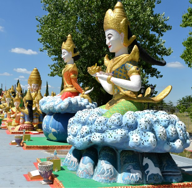 One of the many large statues depicting the life of Buddha is photographed at the Wat Dhammararam Buddhist Temple in Stockton, Calif., on Wednesday, May 31, 2017. The Buddhist temple, featuring many large colorful statues, is open daily during daylight hours and admission is free. (Doug Duran/Bay Area News Group)