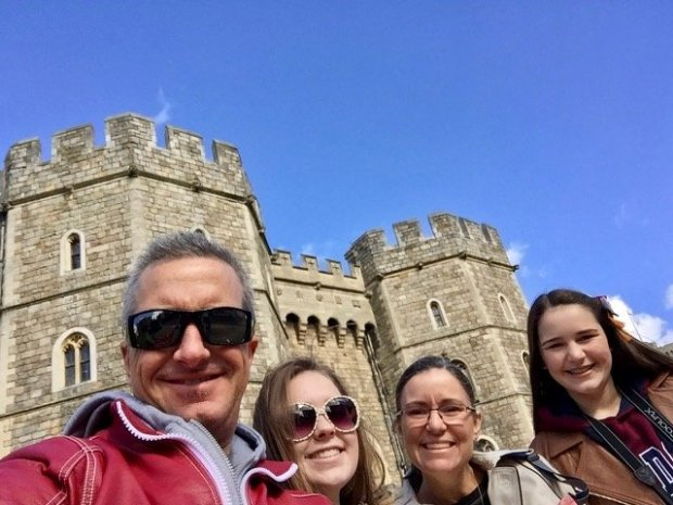 "Brentwood's ""Gann Clan"" -- parents Jeff and Tiffany and their daughtersAmanda, 17, and Emily, 14, -- spent spring break in Europe, visiting Italy and England, where they saw Windsor Castle (pictured). (Photo courtesy of the Gann Family)"