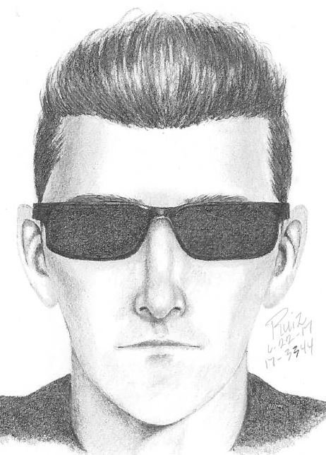 A man, who wasn't wearing any pants or underwear, was accused of touchinghimself in front of two girls as he drove around Palo Alto. Sketch of suspect provided by Palo Alto police.