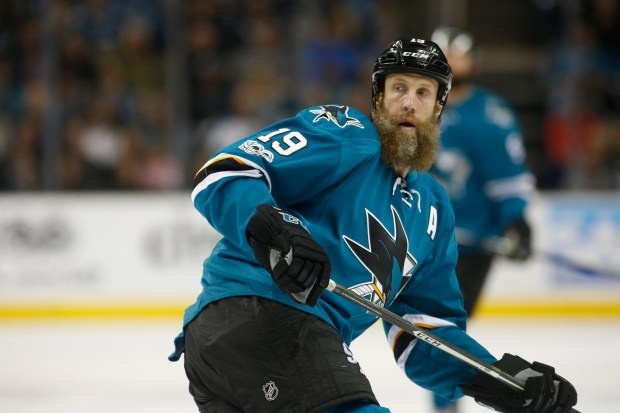 San Jose Sharks center Joe Thornton (19) looks over his shoulder as he plays against the Edmonton Oilers in the first period during Game 6 of the NHL Western Conference quarterfinals at SAP Center Saturday, April 22, 2017, in San Jose, Calif. (Jim Gensheimer/Bay Area News Group)