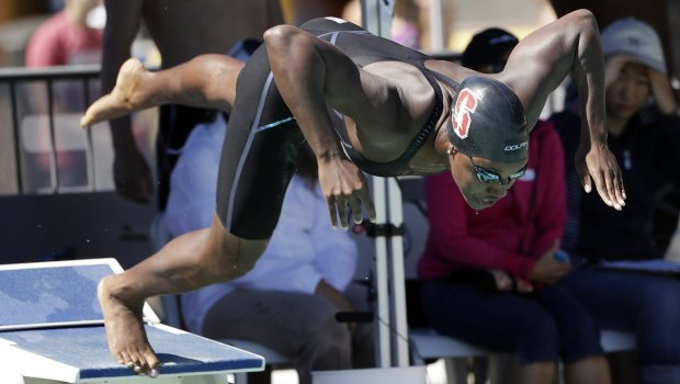 Simone Manuel competes in the 100-meter freestyle during the Arena Pro SwimSeries swim meet Friday, June 2, 2017, in Santa Clara, Calif. (AP Photo/Marcio Jose Sanchez)
