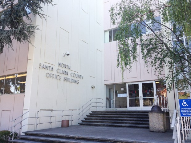 The front entrance to the Santa Clara County Courthouse in Palo Alto, Calif., shown in June 2017. (Jacqueline Lee / Daily News)