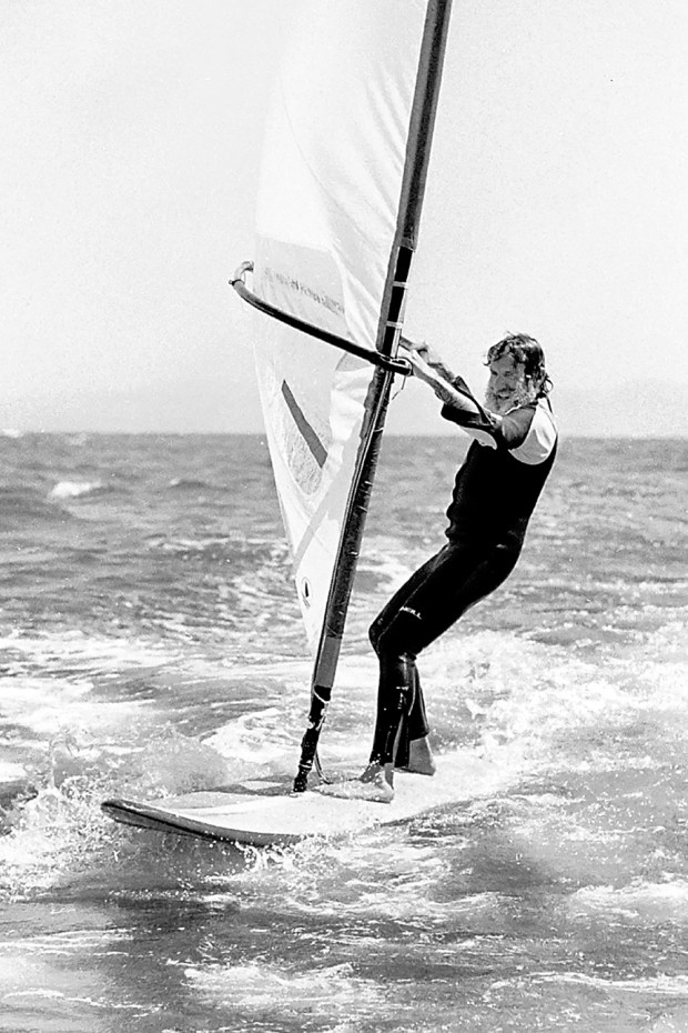 Jack O'Neill windsurfs off Santa Cruz August 5, 1982. Inventor of the wetsuit and surfing world icon, O'Neill died at his Pleasure Point home Friday. (Dan Coyro -- Santa Cruz Sentinel file)