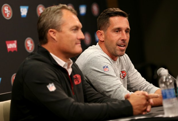 San Francisco 49ers general manager John Lynch and head coach Kyle Shanahan, from left, attend a news conference at Levi's Stadium in Santa Clara, Calif., on Thursday, July 27, 2017. Players reported for training camp on Thursday with practice to begin on Friday.