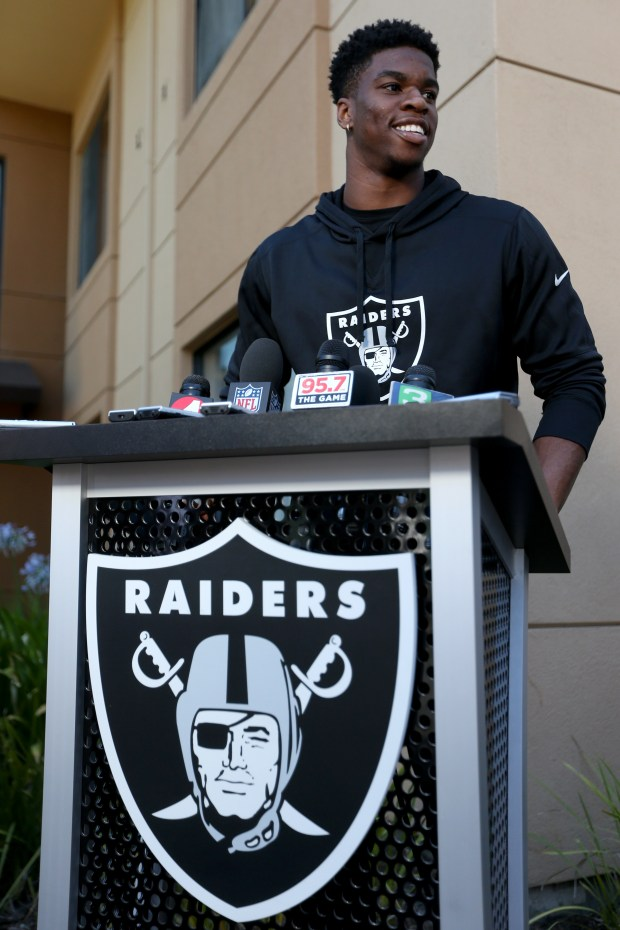 Oakland Raiders safety Obi Melifonwu answers questions during a news conference at the team's training camp in Napa, Calif., on Friday, July 28, 2017. Players reported to training camp and will begin practice on Saturday. (Anda Chu/Bay Area News Group)