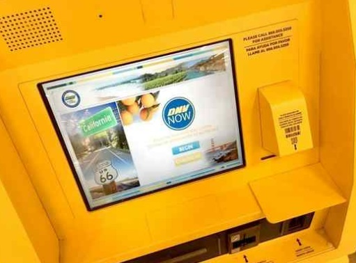 The DMV has expanded its vehicle registration service to grocery stores throughout Los Angeles County, allowing customers to instantly renew their car registrations at self-service kiosks. The expanded service began a few weeks ago at Vons and Albertsons locations in Canoga Park, Northridge, Reseda, Santa Clarita, Saugus, Simi Valley, and Tarzana. The bright yellow kiosk stands out in the store. (Dean Musgrove, Los Angeles Daily News/SCNG)