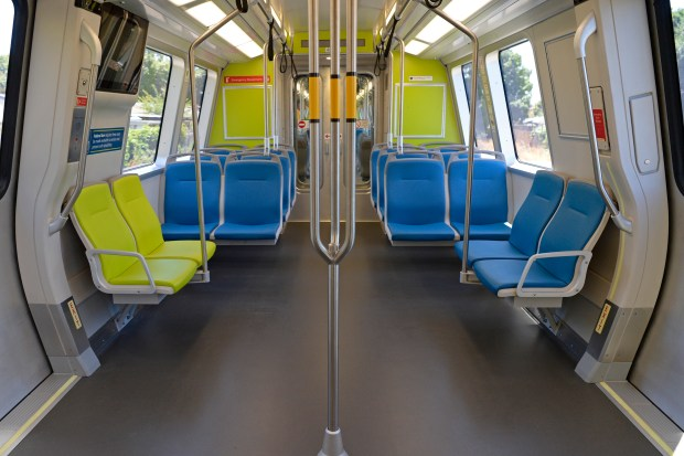 View of the inside one of BART's new train cars during a media tour at the South Hayward BART station in Hayward, Calif., on Monday, July 24, 2017. BART is in the process of replacing its 669 train cars with 775 new ones by the end of 2021. (Jose Carlos Fajardo/Bay Area News Group)