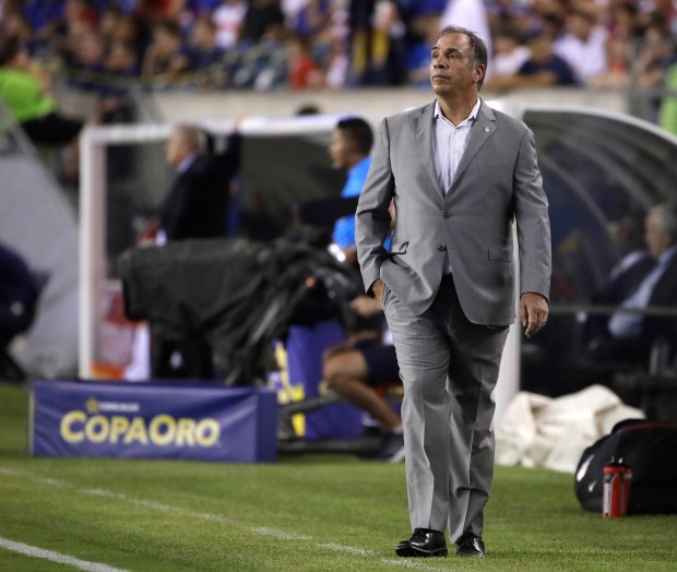 United States head coach Bruce Arena watches during a CONCACAF Gold Cup quarterfinal soccer match against El Salvador, in Philadelphia, Wednesday, July 19, 2017. (AP Photo/Matt Rourke)