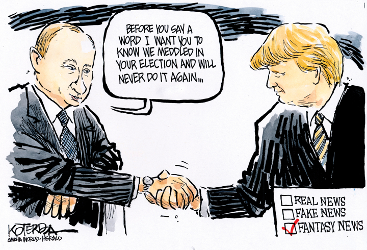 Afbeeldingsresultaat voor putin trump summit cartoon