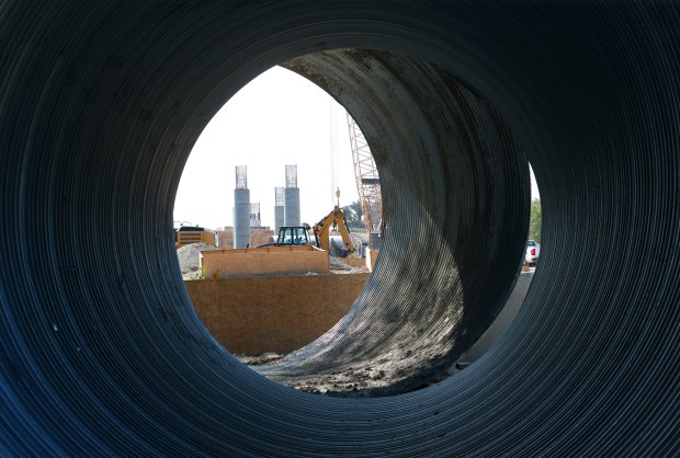 Columns for the San Joaquin River Viaduct is seen through huge corrugated pipes at California's high-speed rail project in Fresno, California, on Monday, July 10, 2017. A $20 billion segment between Fresno and San Jose is scheduled to open by 2025. (Gary Reyes/ Bay Area News Group)