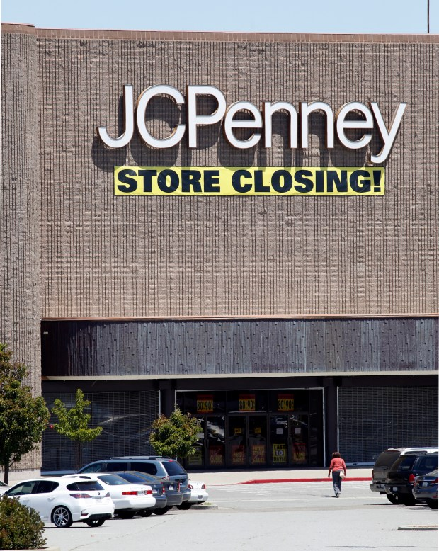 A customer walks toward the entrance to the JCPenny store that is soon to close at Hilltop Mall in Richmond, Calif., on Thursday, July 20, 2017. While some indoor malls are booming, like Valley Fair in San Jose, many are struggling. (Laura A. Oda/Bay Area News Group)