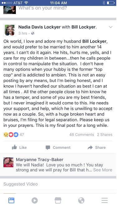 Former Alameda County supervisor Nadia Lockyer posted this message on her Facebook page Wednesday, July 5, 2017, about her troubled marriage with Bill Lockyer, who has served as California's treasurer, attorney general and state senator.