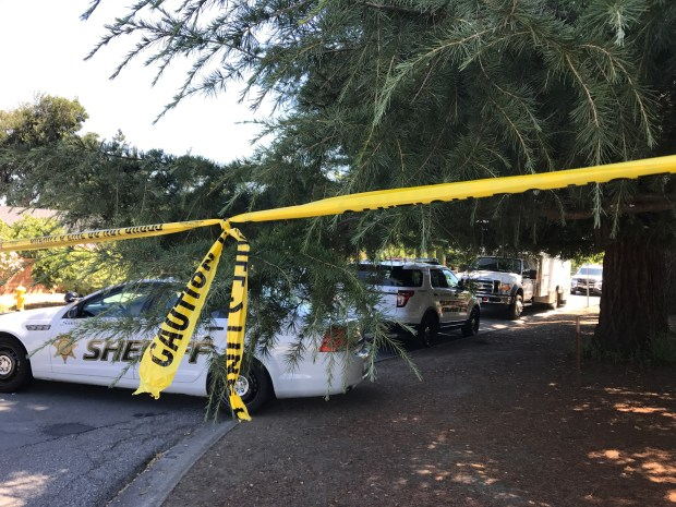 Scene from a shooting incident on Bucknall Avenue in Saratoga, taken at 11:30 a.m. on Thursday. (Brandy Miceli/Bay Area News Group)