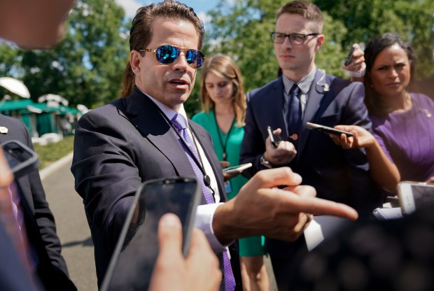 In this Tuesday, July 25, 2017, photo, White House communications director Anthony Scaramucci speaks to members of the media at the White House in Washington. Scaramucci offered newsroom leaders a test on Thursday. They needed to decide whether to fully use the obscenities relied on by Scaramucci to describe fellow White House aides or talk around them. (AP Photo/Pablo Martinez Monsivais)