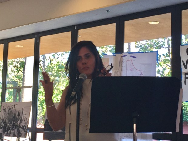 San Jose Vice Mayor Magdalena Carrasco addresses a community meeting in east San Jose at the Mexican Cultural Center to discuss the Google transit village project in downtown San Jose. August 2017.