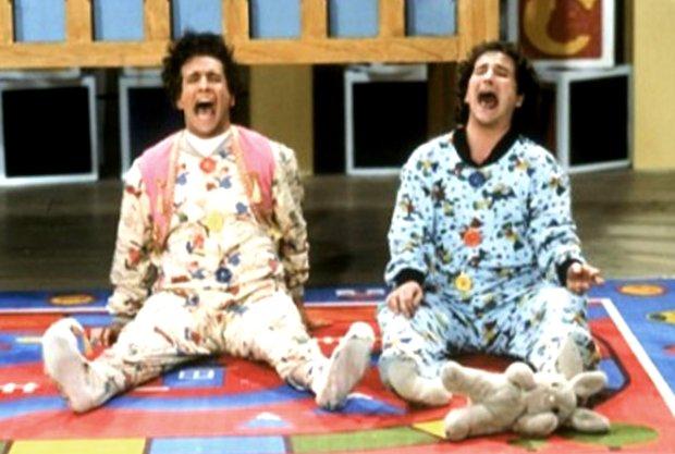 """Mark Linn-Baker, left, and Bronson Pinchot in """"Perfect Strangers."""" (ABC)"""