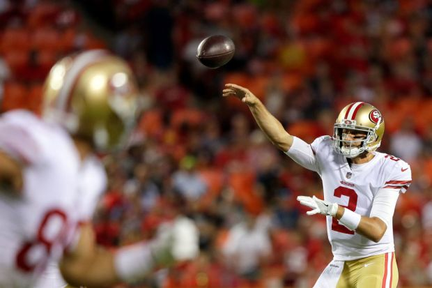 KANSAS CITY, MO - AUGUST 11: Quarterback Brian Hoyer #2 of the San Francisco 49ers passes during the preseason game against the Kansas City Chiefs at Arrowhead Stadium on August 11, 2017 in Kansas City, Missouri. (Photo by Jamie Squire/Getty Images)