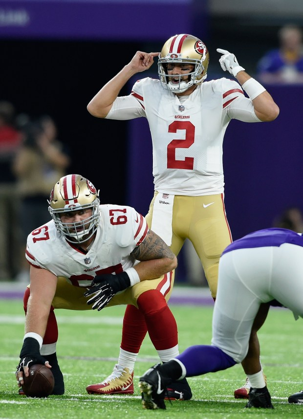 MINNEAPOLIS, MN - AUGUST 27: Brian Hoyer #2 of the San Francisco 49ers calls a play against the Minnesota Vikings as teammate Daniel Kilgore #67 waits to snap the ball during the first quarter in the preseason game on August 27, 2017 at U.S. Bank Stadium in Minneapolis, Minnesota. (Photo by Hannah Foslien/Getty Images)