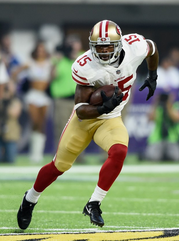 MINNEAPOLIS, MN - AUGUST 27: Pierre Garcon #15 of the San Francisco 49ers carries the ball against the Minnesota Vikings during the first quarter in the preseason game on August 27, 2017 at U.S. Bank Stadium in Minneapolis, Minnesota. (Photo by Hannah Foslien/Getty Images)