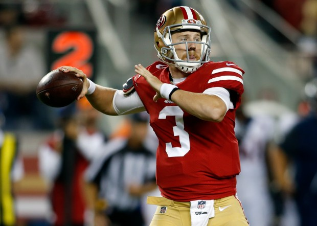 San Francisco 49ers quarterback C.J. Beathard throws against the Denver Broncos during the second half of a preseason NFL football game Saturday, Aug. 19, 2017, in Santa Clara, Calif. (AP Photo/D. Ross Cameron)