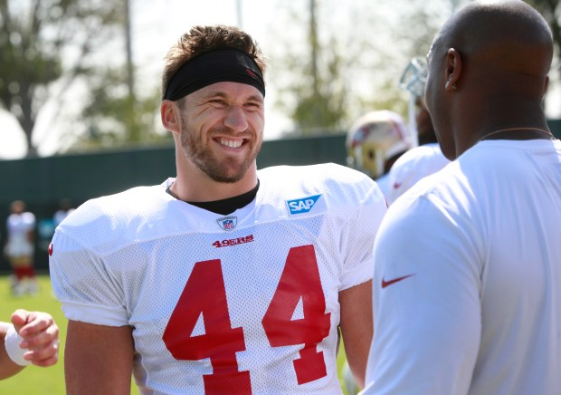 Fullback Kyle Juszczyk (44) enjoys a light moment during training camp, Wednesday, Aug. 2, 2017, in Santa Clara, California. (Karl Mondon/Bay Area News Group)