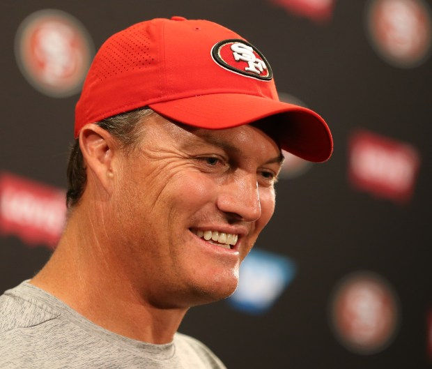 San Francisco 49ers general manager John Lynch answers questions from the news media following a joint practice with the Denver Broncos during training camp at Levi's Stadium in Santa Clara, Calif., on Wednesday, Aug. 16, 2017. (Anda Chu/Bay Area News Group)