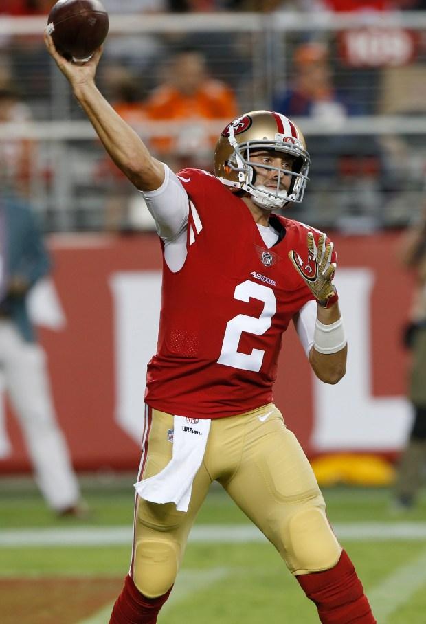 San Francisco 49ers quarterback Brian Hoyer (2) passes against the Denver Broncos in the second quarter at Levi's Stadium on Saturday, Aug. 19, 2017, in Santa Clara, Calif. (Jim Gensheimer/Bay Area News Group)