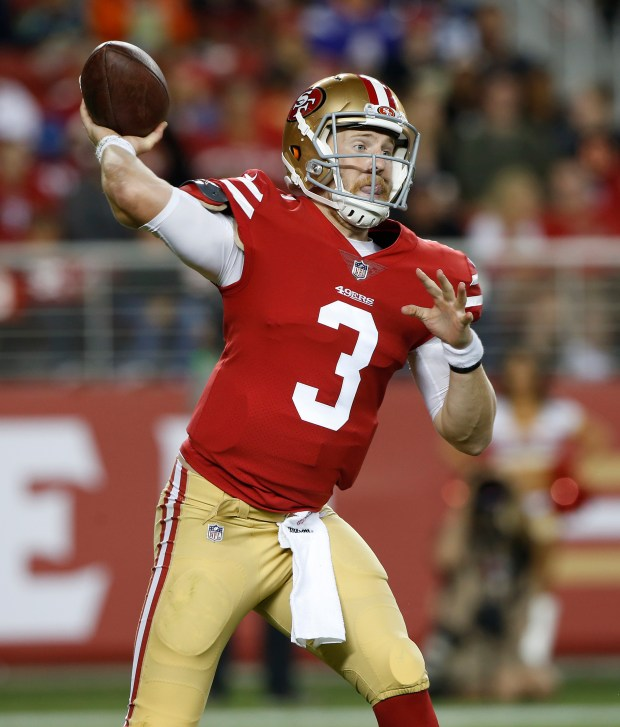 San Francisco 49ers quarterback C.J. Beathard (3) passes against the Denver Broncos in the third quarter at Levi's Stadium on Saturday, Aug. 19, 2017, in Santa Clara, Calif. (Jim Gensheimer/Bay Area News Group)
