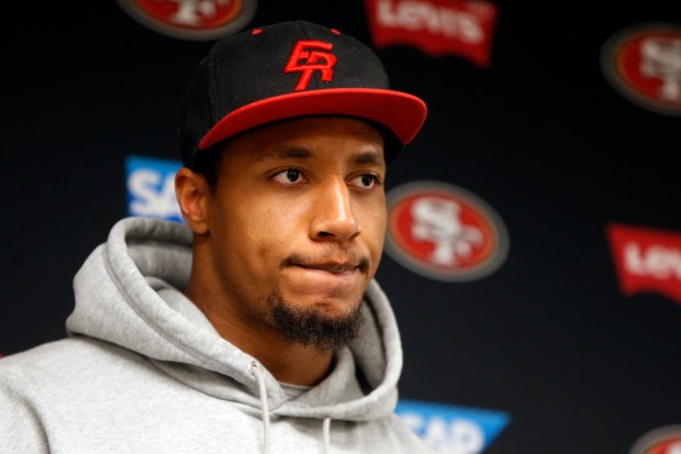 Veteran San Francisco 49er Eric Reid said that players are all praying for Donavin Newsom who was injured at training camp earlier in the day, Tuesday, Aug. 8, 2017, in Santa Clara, California, . (Karl Mondon/Bay Area News Group)