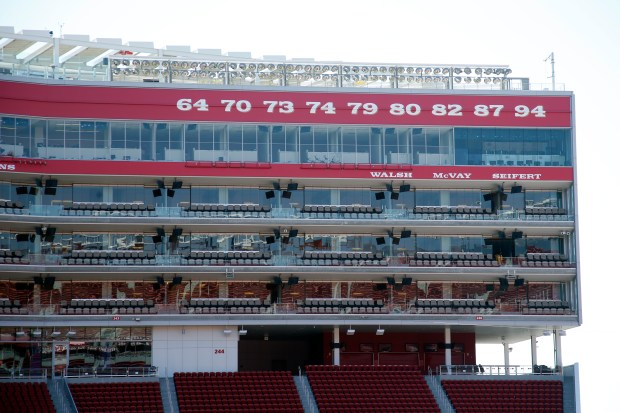 Levi's Stadium, freshly decorated with a Ring of Honor commemorating the numbers of famous players, is readied for the team's first home game, Tuesday, Aug. 15, 2017, in Santa Clara, California. (Karl Mondon/Bay Area News Group)