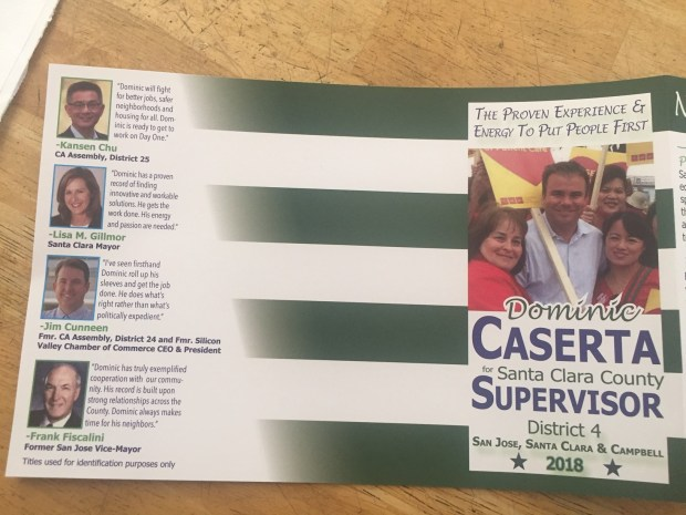 A recent campaign mailer from Santa Clara Vice Mayor Dominic Caserta features a quote from Mayor Lisa Gillmor, though she pulled her endorsement.