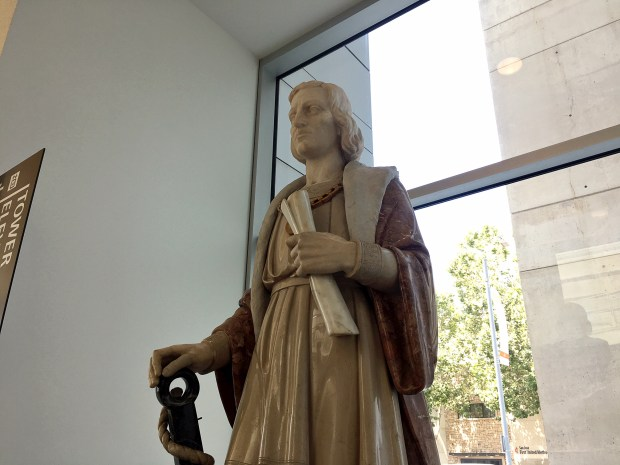 A statue of Christopher Columbus greets the public inside San Jose City Hall, near the elevators. Some organizers demand it should be taken down.
