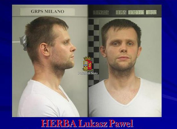 Lukasz Pawel Herba, a Polish citizen with British residency, who has been arrested in the alleged kidnapping. (Italian Police Photo via AP)