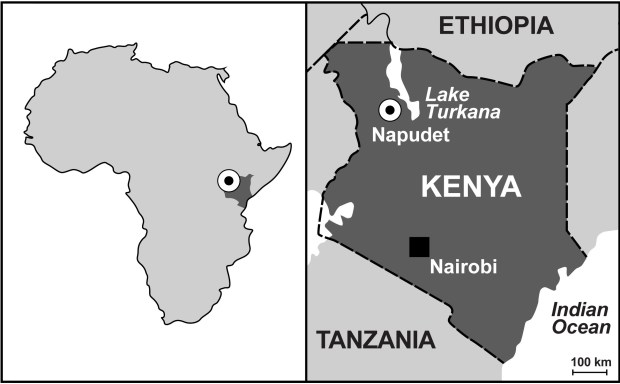 Map of Africa and Kenya, showing the location of Napudet, where Alesi was found. (© Isaiah Nengo)