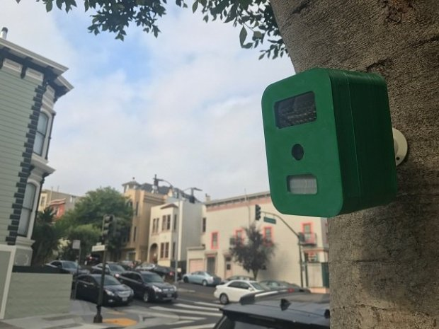 A Flock camera is demonstrated on a San Francisco street. Flock is a new startup backed by Mountain View-based accelerator Y Combinator that uses the license plate reading cameras to help catch criminals. (Courtesy of Flock)