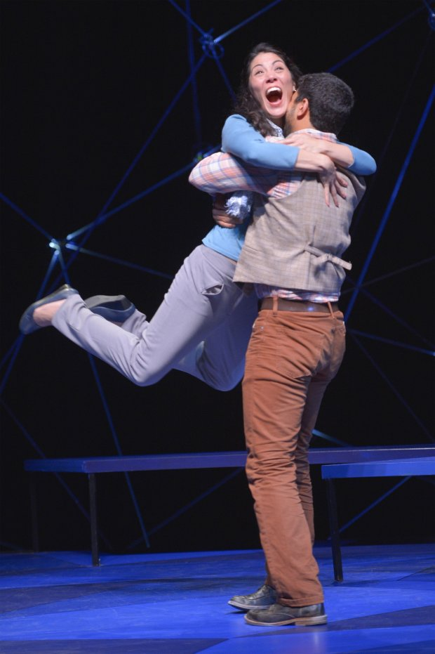 Cosmologist Marianne (Carie Kawa) and beekeeper Roland (Robert Gilbert)collide in the regional premiere of *Constellations *presented by *TheatreWorks Silicon Valley*, August 23-September 17 at the Mountain View Center for the Performing Arts. (Kevin Berne)