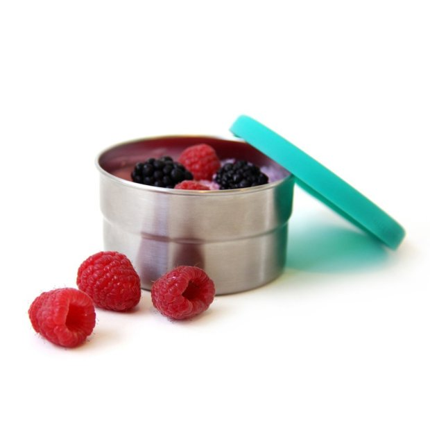 Stainless steel lunch boxes and snack cups with silicone lids fromECOlunchbox (ECOlunchbox)